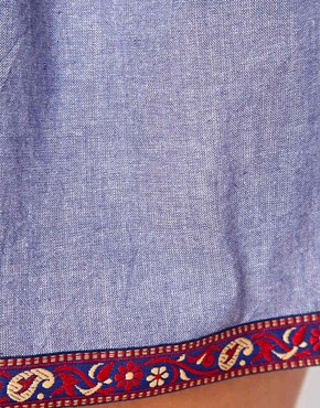 Image 3 ofBand Of Gypsies Denim Skirt With Embroidered Trim