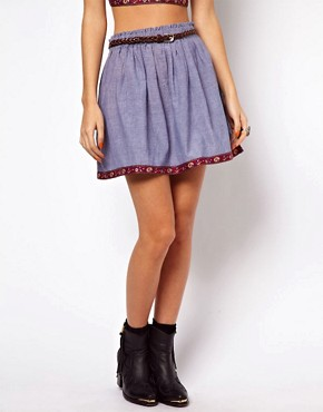 Image 4 ofBand Of Gypsies Denim Skirt With Embroidered Trim