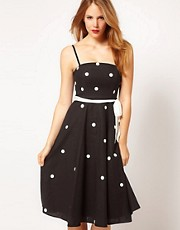 Coast Sarah Spot Dress in Black and White
