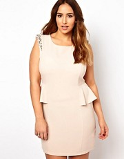 New Look Inspire Embellished Shoulder Peplum Dress