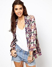 ASOS Blazer In Abstract Print With Fluro Binding