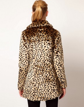 Image 2 ofVero Moda Leopard Print Faux Fur Coat