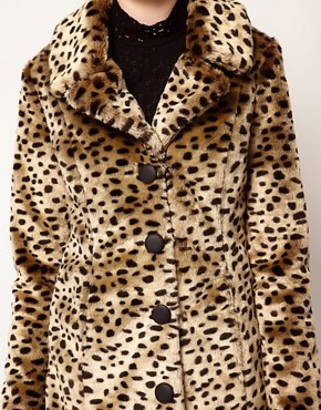 Image 3 ofVero Moda Leopard Print Faux Fur Coat