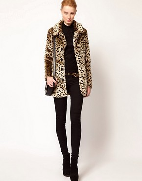 Image 4 ofVero Moda Leopard Print Faux Fur Coat