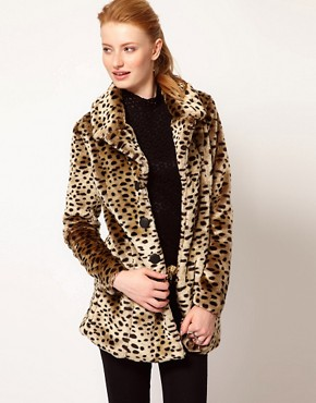 Image 1 ofVero Moda Leopard Print Faux Fur Coat