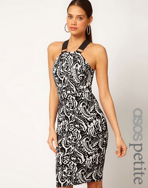 Image 1 ofASOS PETITE Exclusive Bodycon Dress In Mono Print