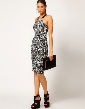 Image 4 ofASOS PETITE Exclusive Bodycon Dress In Mono Print