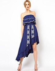 Traffic People Embroidered Ruffle Midi Dress