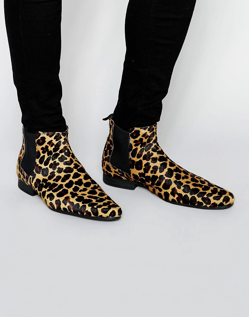 ASOS Chelsea Boots in Leopard - Yellow