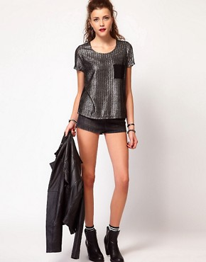 Image 4 ofVero Moda Silver Foil Print Texture Tshirt