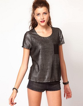 Image 1 ofVero Moda Silver Foil Print Texture Tshirt