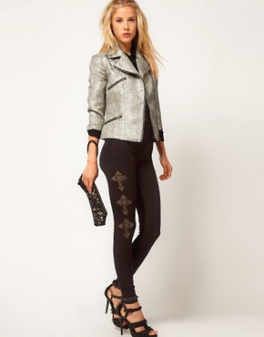 Image 1 ofASOS Leggings with Textured Panel And Cross Detail