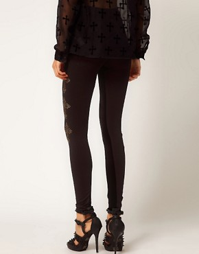 Image 2 ofASOS Leggings with Textured Panel And Cross Detail