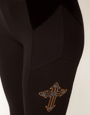 Image 3 ofASOS Leggings with Textured Panel And Cross Detail