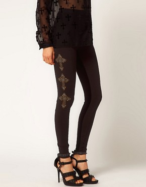Image 4 ofASOS Leggings with Textured Panel And Cross Detail