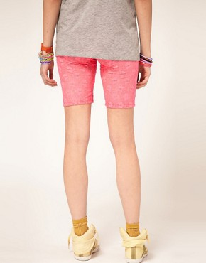 Image 2 ofASOS Fitted Shorts in Neon Lace