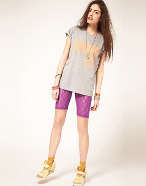 Image 1 ofASOS Fitted Shorts in Neon Lace