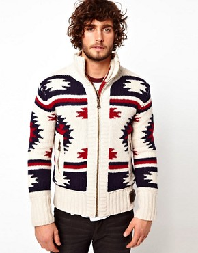 Image 1 ofSuperdry Navajo Knit Zip Cardigan