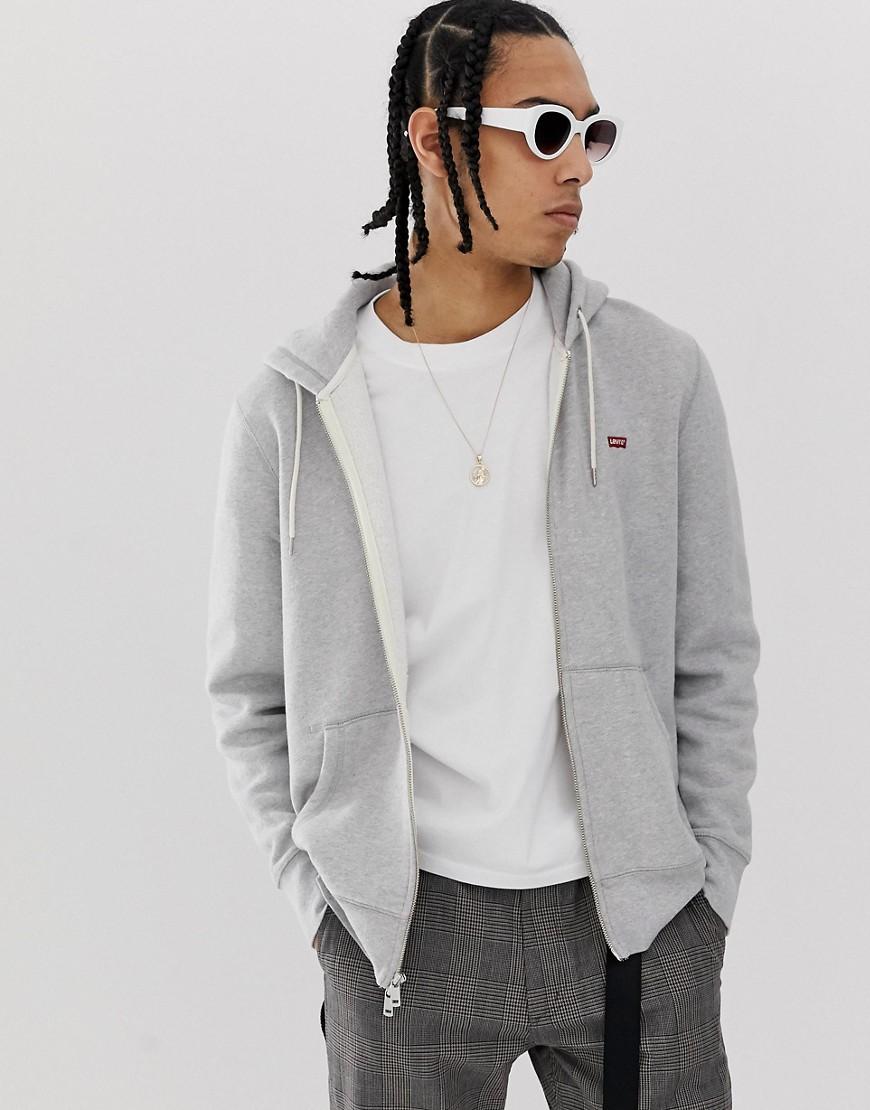Levis - Hoodie met rits en logo in grijs - Gemêleerd grijs