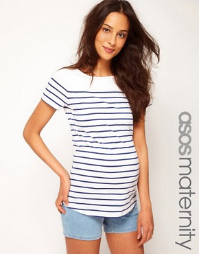 Bild 1 von ASOS MATERNITY  Exklusives T-Shirt mit Bretonstreifen