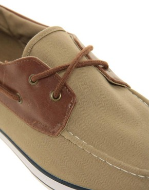 Image 2 ofASOS Herringbone Canvas Boat Shoes