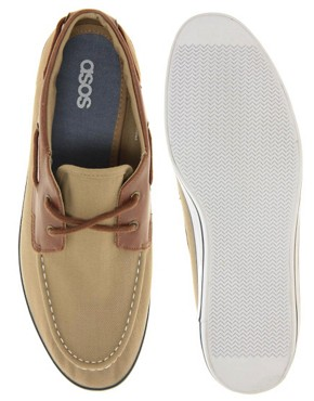 Image 3 ofASOS Herringbone Canvas Boat Shoes