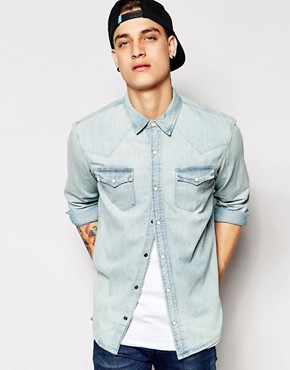 Pull&Bear Denim Shirt with Western Detailing Light Wash