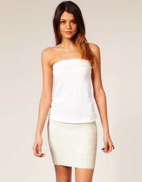 Image 1 ofASOS Bandeau Dress with Sequin Skirt