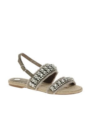 Image 1 ofRiver Island Diamante Espadrille Sandals