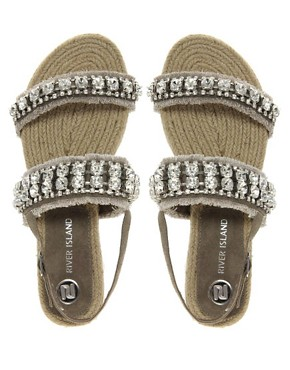 Image 3 ofRiver Island Diamante Espadrille Sandals