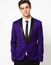 ASOS Skinny Tuxedo Suit Jacket in Indigo Polywool