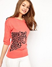 A Wear Leopard Intarsia Jumper
