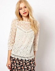 River Island Button Back Crochet Top