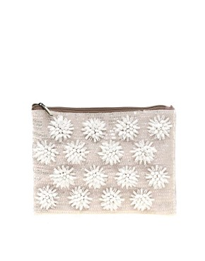Image 1 ofASOS Floral Beaded Clutch Bag