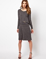 By Zoe Draped Jersey Dress with Cut Out Side
