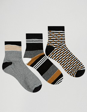 Oysho 3 Pack Striped Socks