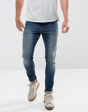 ASOS Super Skinny Jeans In 12.5oz Dark Wash Blue