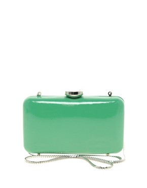 Love Moschino Leather Clutch Bag  :  holiday leather party mint