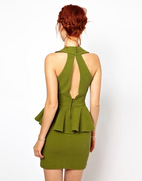 Image 2 ofGanni Halter Neck Dress with Peplum in Herringbone Waffle