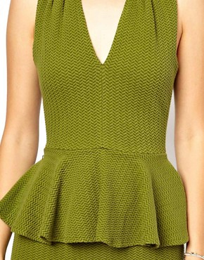 Image 3 ofGanni Halter Neck Dress with Peplum in Herringbone Waffle