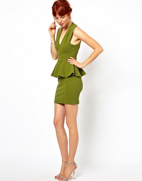 Image 4 ofGanni Halter Neck Dress with Peplum in Herringbone Waffle