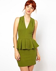 Ganni Halter Neck Dress with Peplum in Herringbone Waffle