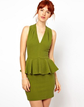 Image 1 ofGanni Halter Neck Dress with Peplum in Herringbone Waffle