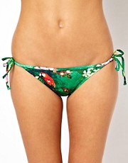 Braguitas de bikini anudadas a los lados con estampado tropical de ASOS