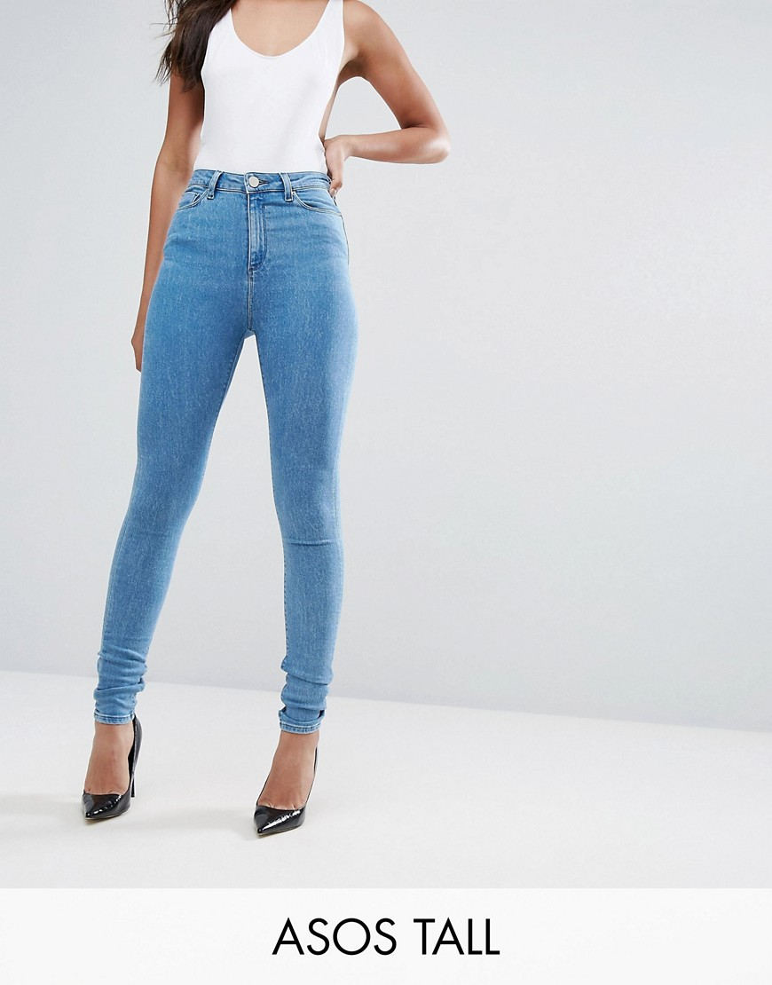 ASOS TALL RIDLEY High Waist Skinny Jeans in Harry LightWash Blue - Harry lightwash