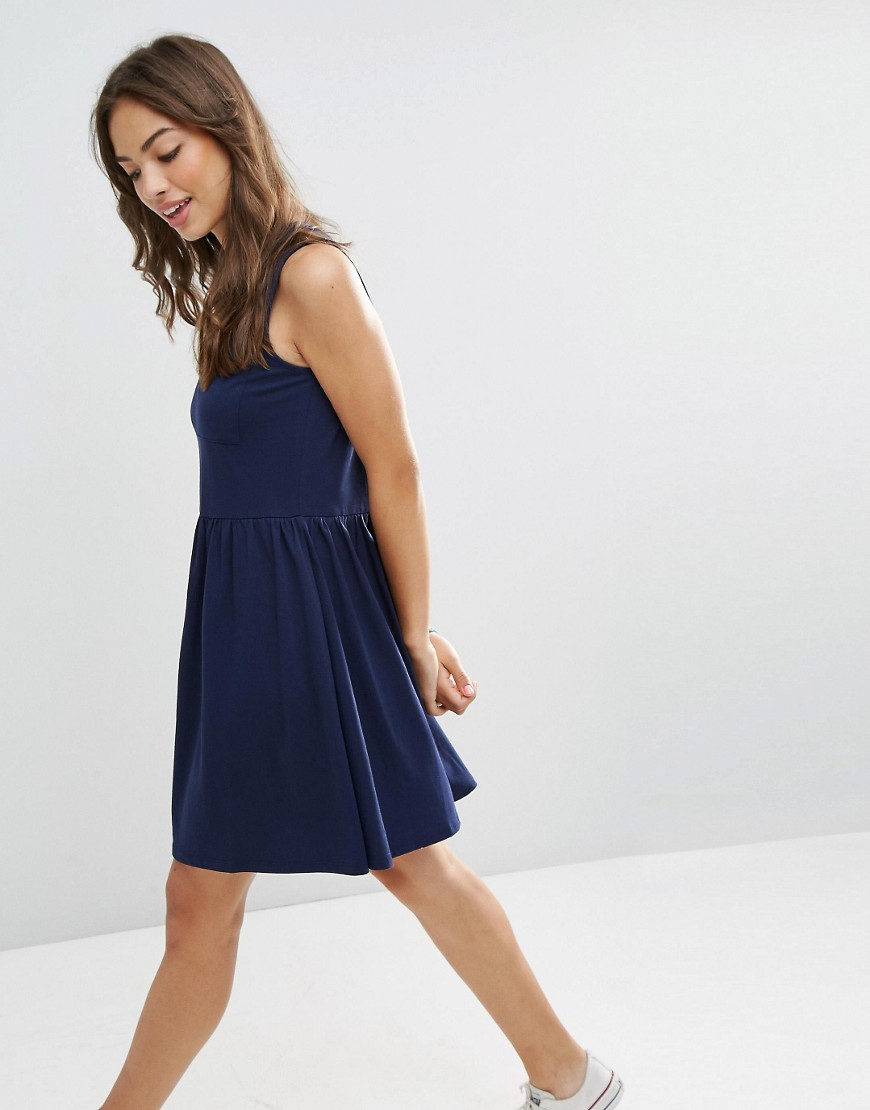 ASOS Sleeveless Smock Dress with Pocket - Navy