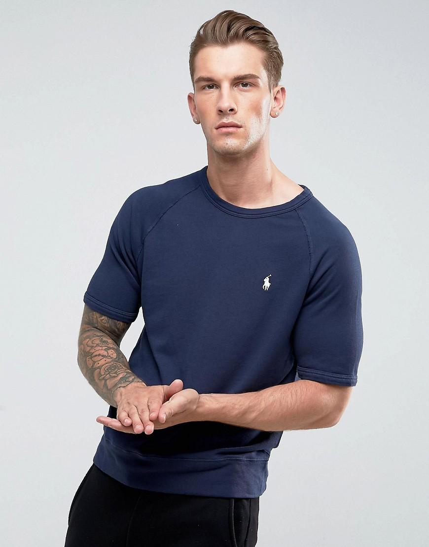 Polo Ralph Lauren Crew Neck Sweatshirt Short Sleeve Lightweight in Navy - Cruise navy