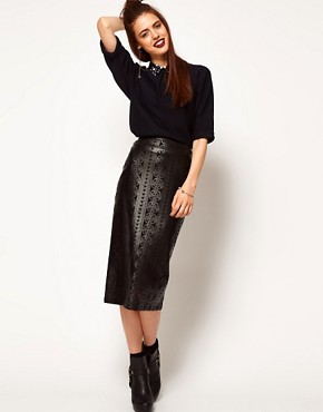 Image 1 ofASOS Cutwork Pencil Skirt