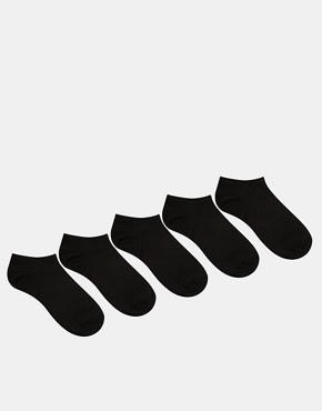 ASOS 5 Pack Trainer Socks Black