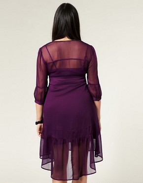 Image 2 ofASOS CURVE V Neck Chiffon Dress